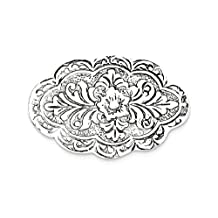 IceCarats 925 Sterling Silver Scalloped Oval Pin