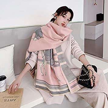 SILWJPF Animal Print Winter Scarf Women Thick Warm Shawls and Wraps Horse Print Blanket Cape