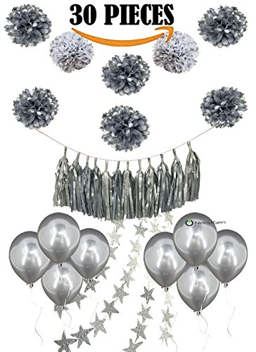 Silver Party Decoration Tissue Paper Pom Poms White Silver Polka Dot Pom Poms Tassels Glitter Star Garlands Balloons 25th Wedding Anniversary Birthday Baby Bridal Shower 30 Pcs Silver Color (Silver And White Decorations)