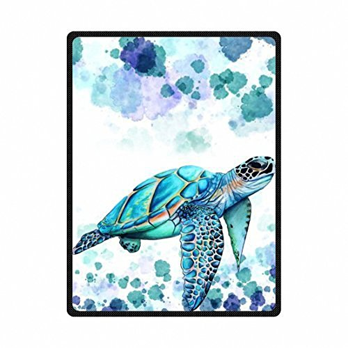 Custom printed with cartoon turtle for kids Velvet Plush Throw Blanket(Large)Super soft and Cozy Fleece Blanket Perfect for Couch Sofa or bed