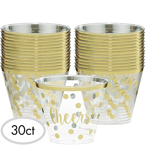 Amscan New Years Eve Printed Cheers Tumblers with Gold Trim - 9 ounces and 30 in a -