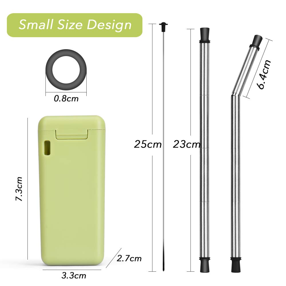 Collapsible Straw Reusable Stainless Steel, Folding Drinking Straws Keychain Foldable Final Premium Food-grade Portable Set with Hard Case Holder Cleaning Brush for Travel, Household, Outdoor-Green by Hydream (Image #3)