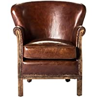 Moes Home Collection Libby Leather Club Chair, Brown