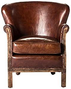 Moe's Home Collection Libby Leather Club Chair, Brown