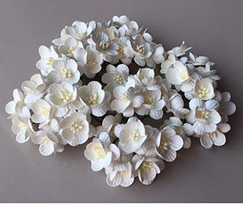 50 Pcs Flower blossom white color mulberry paper flower 20-25 mm scrapbooking wedding doll house supplies card