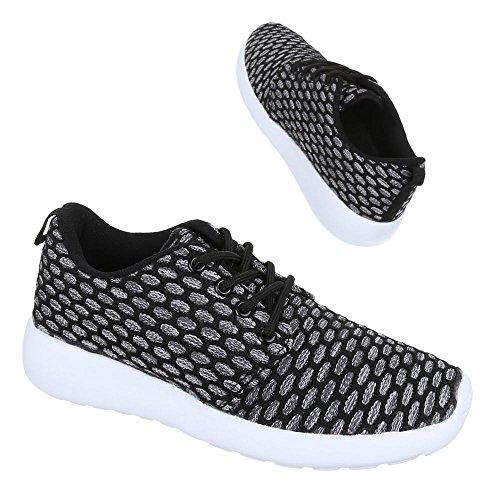 Ital-Design - Zapatillas de tela para mujer Negro - Schwarz Grau