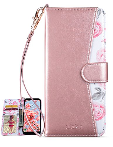 ULAK Galaxy s8 Plus Case, Galaxy S8 Plus Wallet Case with Kickstand for Women Card Holder ID Slot Hand Strap Shockproof Full Protective PU Leather Cover (NOT for Galaxy s8)-Rose Gold