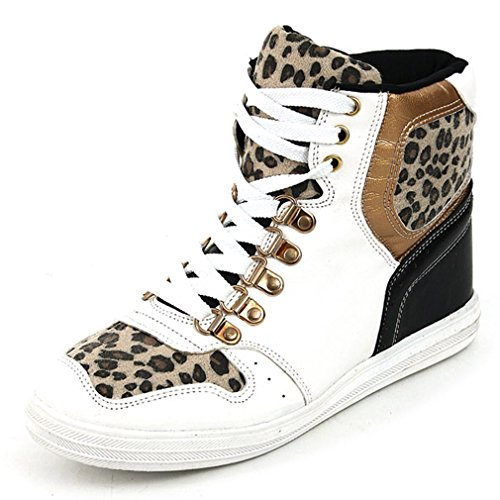 Epicsnob Womens White Shoes High Top Lace Up Leopard Wedge Synthetic Fashion Sneakers 8 M US