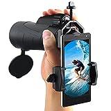 Ueasy 12x50 Waterproof Monocular Side Hand Strap binoculars for bird watching handheld monocular telescope with Smart Phone Adapter