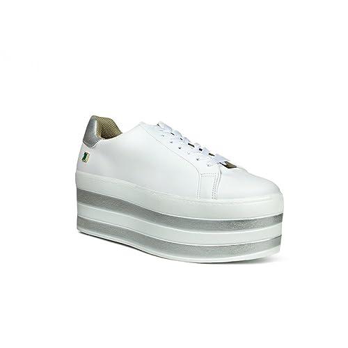 vende mas bajo precio precio más bajo con Trender Tenis para Mujer Color Blanco Y Plataforma con Rayas Color Plata EN  Color - 9310650