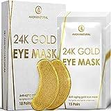 24K Gold Eye Masks - 15 Pairs | Under Eye Patches | Under Eye Bags & Dark Circles Treatment | Vegan & All-Natural.