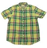 True Grit Mens Surf Check Combed Cotton Plaid Short Sleeve Button Down Shirt-Yellow-medium