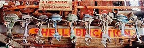 Eldorado Gold Finish - 12 x 36 inch panoramic photograph of vintage trolling boat motors and propellers at a Nevada ghost town. Panorama photo perfect gift for man cave.