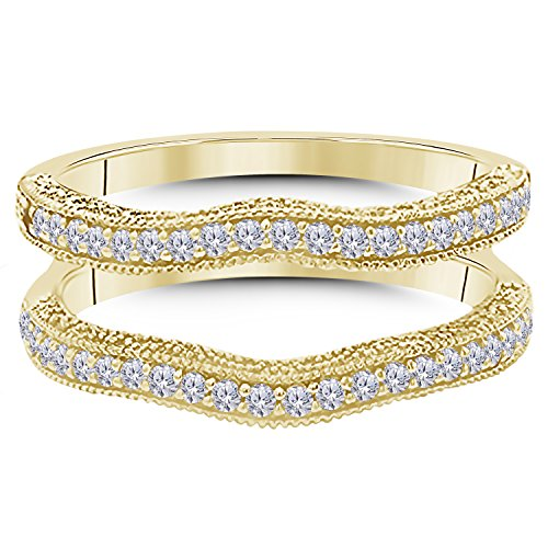 14K Gold Plated Alloy 0.50ct Simulated Diamond Ring Solitaire Enhancer Guard Wrap For Women's