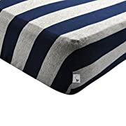 Burt's Bees Baby - Bold Stripe Fitted Crib Sheet, 100% Organic Crib Sheet for Standard Crib and Toddler Mattresses (Blueberry)