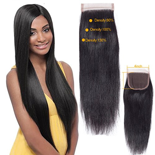 QTHAIR 12A Indian Straight Human Hair 4x4 Swiss Lace Closure(10',Free Part,Natural Black) 130%...