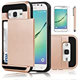 Galaxy Core Prime Case, EC™ Galaxy Prevail LTE Case, Hybrid Dual Layer Shockproof Bumper Wallet Case Cover with Card Holder for Samsung Galaxy Core Prime / Prevail LTE G360 (Rose Gold)