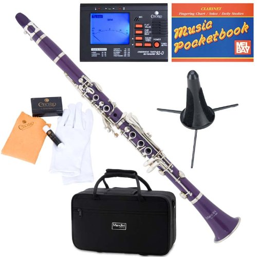 Mendini ABS B-Flat Clarinet, Purple and Tuner, Case, Stand, Pocketbook - MCT-P+SD+PB+92D Cecilio Musical Instruments Mendini by Cecilio