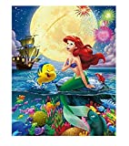 Little Mermaid Paint by Numbers Kits 16x20 Inch DIY 5D Diamond Canvas Painting by Number Mermaid Full Drill Crystal Rhinestone Diamond Embroidery Paintings Disney Princess Ariel Karyees