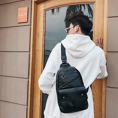 hongrun Les paquets et élégant, dhommes et le pack cuir sac à bandoulière unique rue petit paquet par paquet jeunesse nouvelle marée sac à dos pack poitrine de masse
