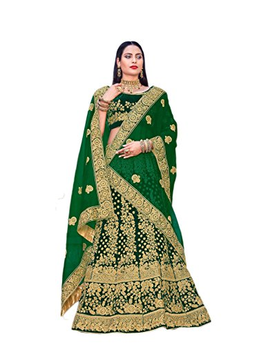 (CRAZYBACHAT Indian Bridal Velvet Lehenga Choli in Pine Green Color)