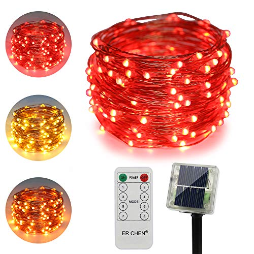- ErChen Dual-Color Solar Powered LED String Lights, 33FT 100 LEDs Remote Control Color Changing 8 Modes Copper Wire Decorative Fairy Lights for Outdoor Garden Patio (Warm White, Red)