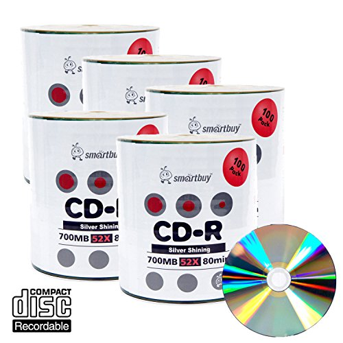 Smart Buy Shiny Silver Top CD-R 500 Pack 700mb 52x Blank Recordable Discs, 500 Disc, 500pk by Smart Buy
