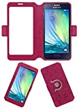 Acm SVIEW Window Designer Rotating Flip Flap Case for Samsung Galaxy A3 Mobile Smart View Cover Stand Pink