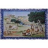 Panneau Mural Peint pour cuisine, salle de bain ,entrée de maison... - 90x60cm (24 carreaux de 15x15cm) – Peinture sur faience émaillée