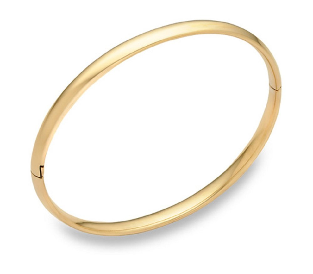 14K Solid Yellow Gold 5MM Plain High polish Bangle with Hinge fancy lock-14K GOLD