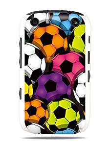 "GRÜV Premium Case - ""Football Multicolor Soccer Balls Digital Sport Art"" Design - Best Quality Designer Print on White Hard Cover - for Blackberry Curve 9320 9310 9315 9220"