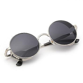 VENMO Gafas de Sol, Mujeres Hombres Verano Vintage Retro Redondas Gafas de Color Degradado (Gris oscuro)