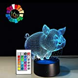 Night Light 3D Lamp 16 Colors Changing Nightlight Smart Touch & Remote Control 3D Night Light for Kids Gift Boy Girl Birthday Bedside Table Lamp (Pig)