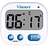 Vinker Digital Kitchen Timer, Clock for 12 Hour AM/PM Indications with Big Digits, Loud Alarm and flashing indicator light