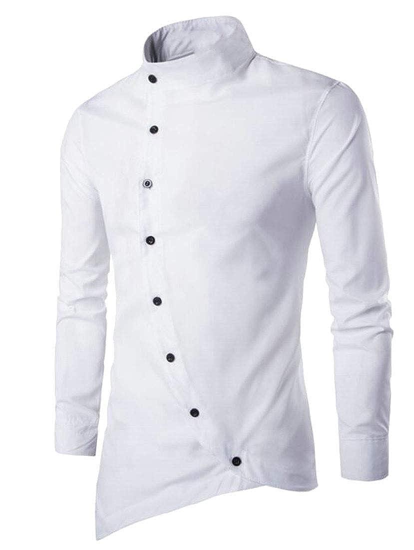 Fllay Men Button Down Stand Collar Stylish Irregular Hem Dress Shirts