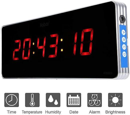 Jeffergarden Inicio Reloj de Pared Digital Reloj de Pared con Reloj Digital Reloj de Pared de Temperatura y Reloj 110-240V (36 * 13 * 3cm-Hora + Minuto + Segundo): Amazon.es: Hogar