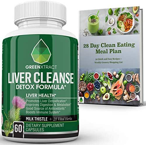 Liver Cleanse Detox & Repair Formula, Natural Herbal Support Supplement, Milk Thistle Extract, Silymarin Beet Artichoke Dandelion Chicory & Burdock Root Turmeric Ginger Celery Seed & More, Bonus Ebook