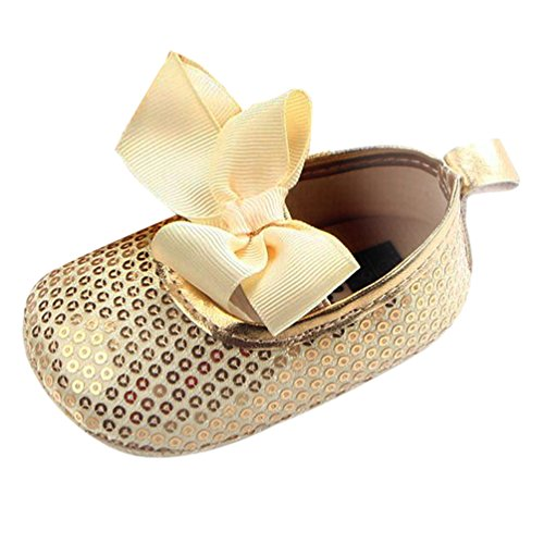 Dooxi Bebé Niña Bowknot Lentejuelas Princesa Zapatos Primeros Caminantes Antideslizante Zapatillas Oro