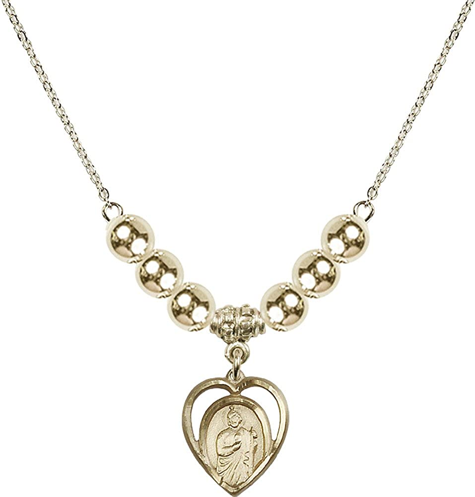 18-Inch Hamilton Gold Plated Necklace with 6mm Gold Filled Beads and Gold Filled Saint Jude Charm.