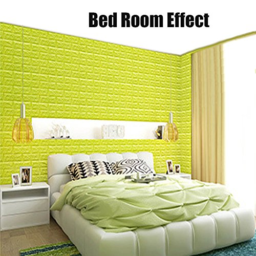 Green Color Foam Wallpaper Sticker For Boys Room Wall Decor, POPPAP 3D Foam Brick Panel Peel And Stick Wallpaper Self-adhesive Removable Wall Paper for TV Background, Children Room, Bedroom/ 20 PACK by POPPAP (Image #4)