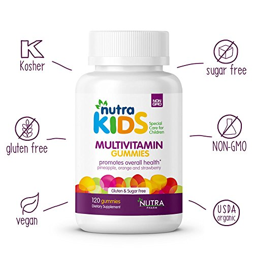 Multivitamin Gummies By Nutra Pharm - Pineapple, Orange and Strawberry Flavor - 120 Count - Daily Organic Multivitamins for Kids GLUTEN FREE - SUGAR FREE - VEGAN - KOSHER - HALAL VITAMIN SUPPLEMENTS