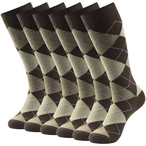 Argyle Knit Dress (Groomsmens Wedding Dress Socks, SUTTOS Men's Coffee Brown Argyle Jacquard Dobby Flat Knit Big & Tall Moisture Control Wicking Mid Calf Long Crew Tube Socks Father's Day Gifts,6 Pack)