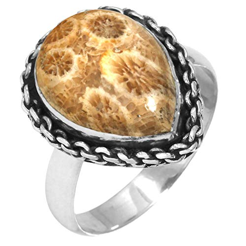 Solid 925 Sterling Silver Collectible Jewelry Natural Indonesian Fossil Coral Gemstone Ring Size 10