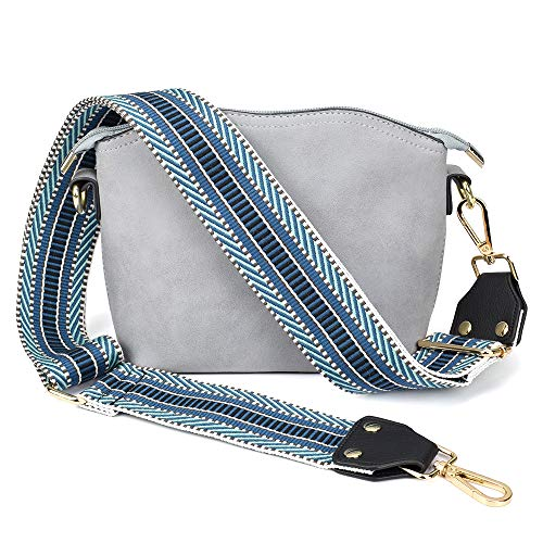 Bag/Purse Strap Replacement Crossbody Shoulder For Women Adjustable Jacquard Woven Cotton Guitar Strap Style (Blue)