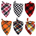 6 Pack of Dog Bandana Washable Reversible Triangle Bibs Scarf, Plaid Painting Kerchief for Small/Medium Dogs and Cats
