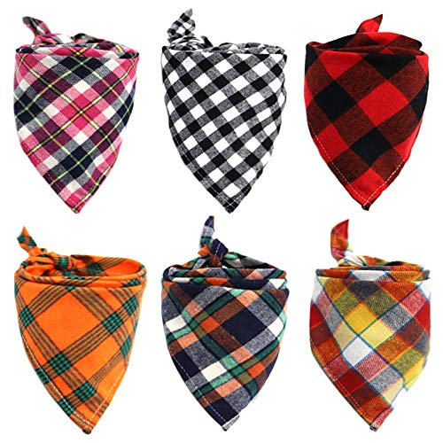 6 Pack of Dog Bandana Washable Reversible Triangle Bibs Scarf, Plaid Painting Kerchief for Small/Medium/Large Dogs and Cats (Style ()