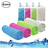 Cooling Towel,Vinsco 4 Pack Cool Towels Microfiber Chilly Ice Cold Head Band Bandana Neck Wrap (40'x 12') for Athletes Men Women Youth Kids Dogs Yoga Outdoor Golf Running Hiking Sports Camping Travel