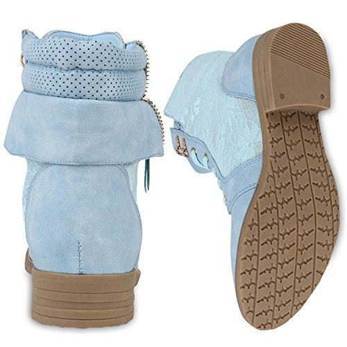 Tailles Flandell® Similicuir Pour Travail Carr Bottes Blue Femmes Lacets Talon Camouflage De Bottines 9 Light 3 wFqfOTvWt