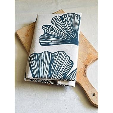 Ginko Leaf Flour Sack Tea Towel in Blue-Green