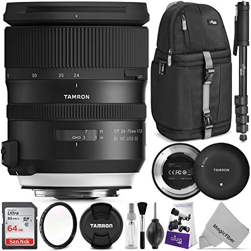Tamron SP 24-70mm f/2.8 Di VC USD G2 Lens for Canon EF w/Tamron Tap-in Console and Advanced Photo and Travel Bundle